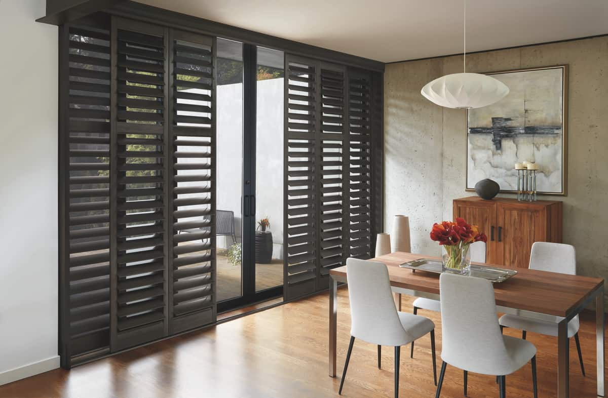 Custom Plantation Shutters for Sliding Doors in Dining Rooms Near Orange County & Tustin, California (CA)