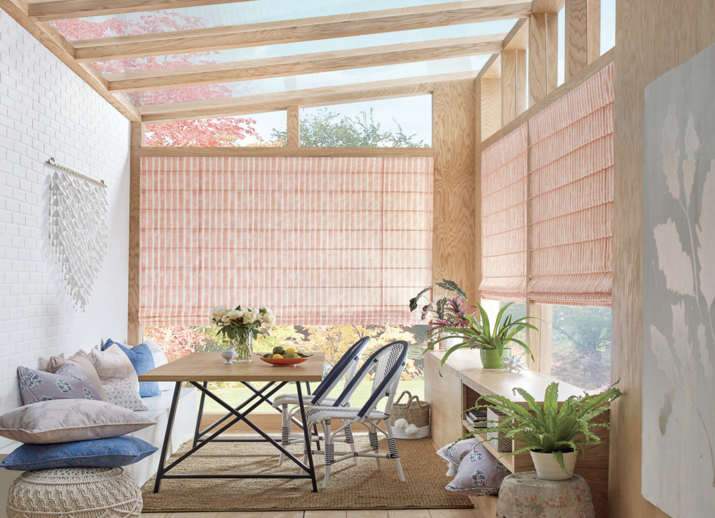 Design Studio Roman Shades for Patios and Sunroom Light Control in Homes Near Tustin, California (CA)