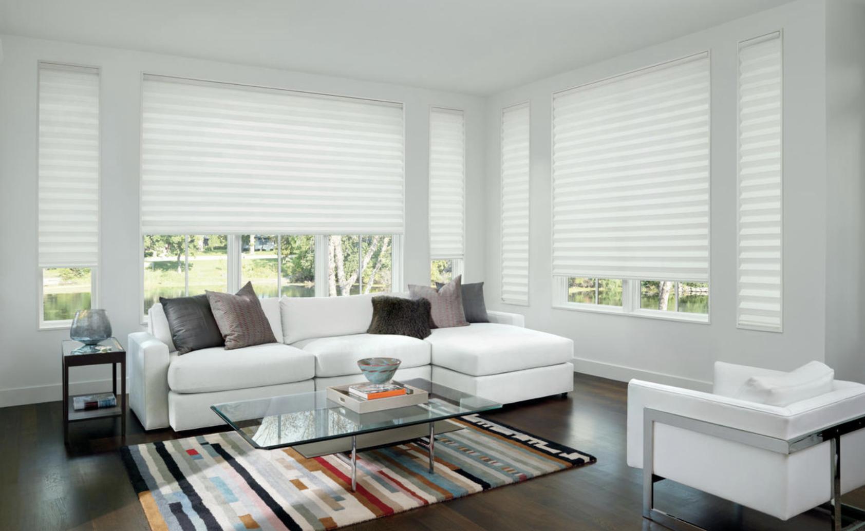 Solera Soft Roman Shades for Home Living Rooms Near Tustin, California (CA) to Insulate Windows